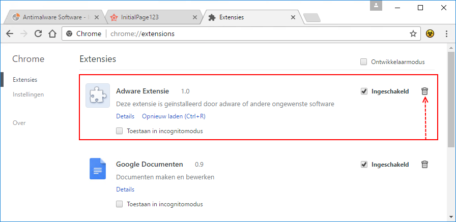 Adware en pop-ups in Google Chrome