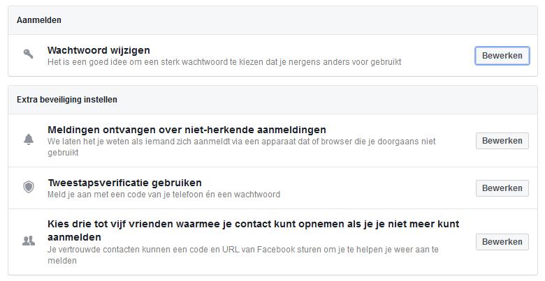 Facebook beveiliging instellen