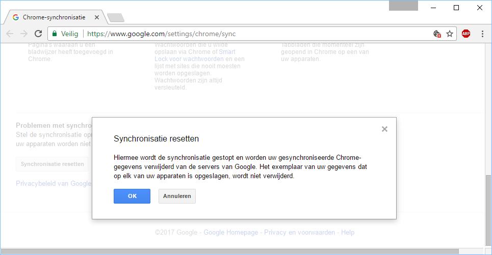 Google Chrome Synchronisatie Resetten