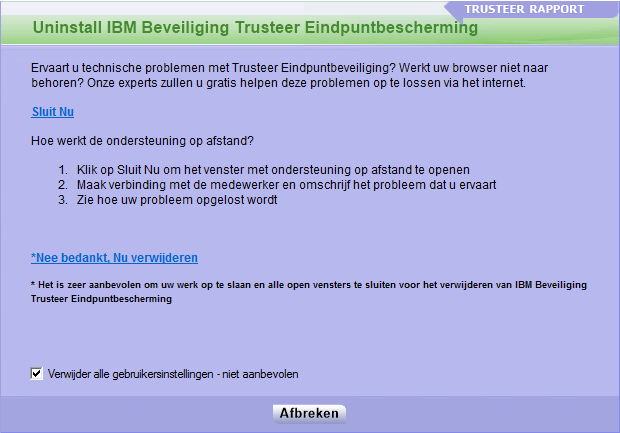 IBM Trusteer Eindpuntbeveiliging verwijderen