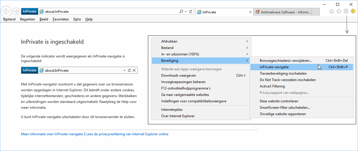 InPrivate-Navigatie Internet Explorer