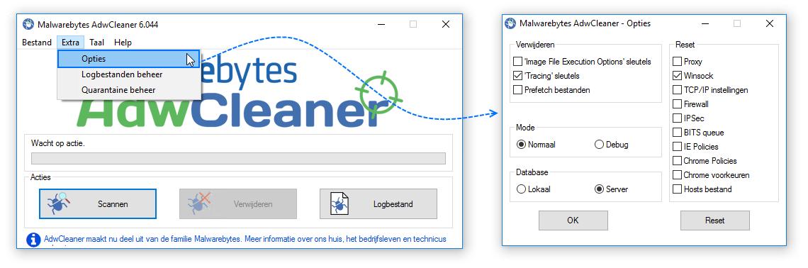 Malwarebytes AdwCleaner Opties en Instellingen