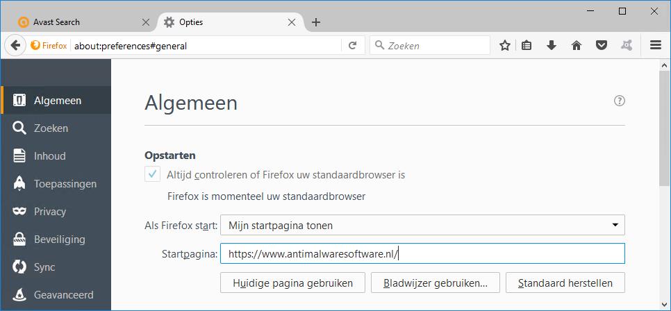 Search.avast.com Firefox
