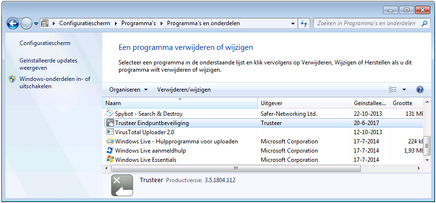 Trusteer Rapport verwijderen in Windows 7