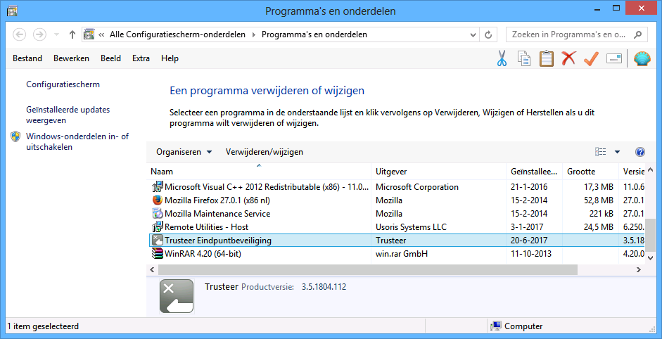 Trusteer Rapport verwijderen in Windows 8