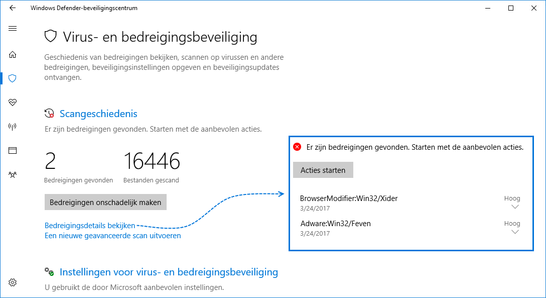 Windows Defender Antivirus Bedreigingen